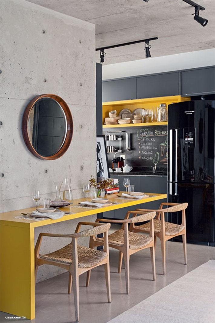 Sala De Jantar Preto E Amarelo ~ 10 salas de jantar integradas Como decorar?  Comprando Meu Apê